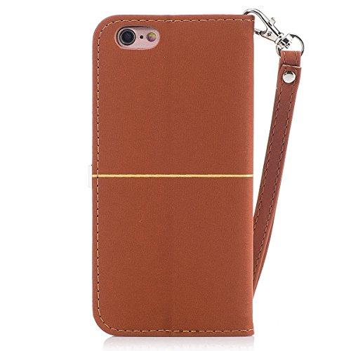 iPhone 6plus Coque,Fodlon® Mode Or Velours prune Fleur Tête Machines à sous avec Cordon Téléphone Housse -Marine marron