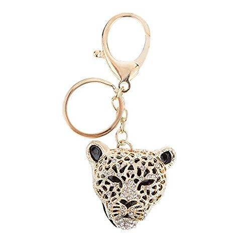 Métal Doré Accessoires Cadeaux Shinning Léopard Tête Pendentif Porte-clés Porte-clés