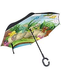 ALAZA Doble Capa invertido Paraguas Paraguas Coches inversa Animales Lindos en Cáscaras de Huevo de Dibujos