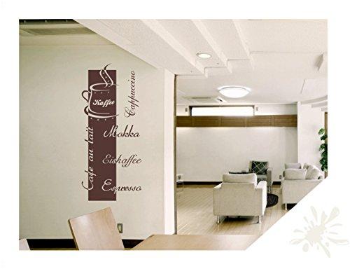 Wandtattoo Wandbanner Cappuccino Espresso Mokka Tasse Swarovski Strass Küche Büro Lounge (kfe03 cremeweiß) 150 x 68 cm mit Farb- u. Größenauswahl
