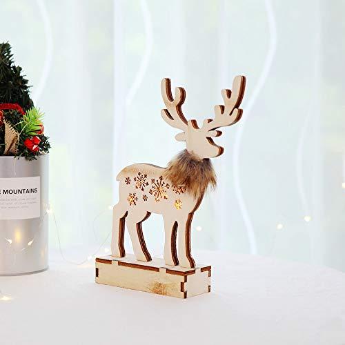 OHQ MODA Ciondoli Natale Decoration Ornament Ciondolo Legno Abete Ornamenti Appendere Articoli Natalizi Addobbi per Alberi Albero Finestra Decorazione di Festa della Luce LED