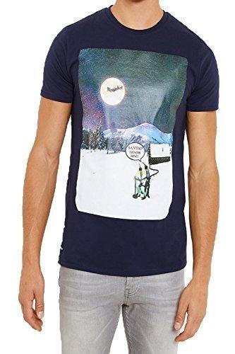 Herren Weihnachten T-shirts Threadbare Eisbär Weihnachten Slogan Schneeflocken Neuheit Neu marineblau - mmv104pka