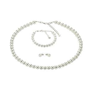 Bijou Art Perlenkette Weiss Armband Ohrstecker Titan Schmuck-Set Versilbert