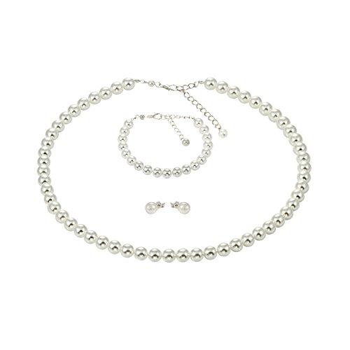 Perlenkette Weiss Armband Ohrstecker Titan Schmuck-Set Versilbert
