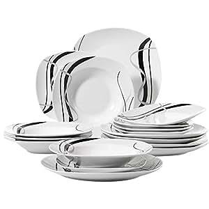 Veweet FIONA 18pcs Assiettes Pocelaine Service de Table 6pcs Assiettes Plates 24,7cm, 6pcs Assiette Creuse 21,5cm, 6pcs Assiette à Dessert 19cm Vaisselles pour 6 Personnes