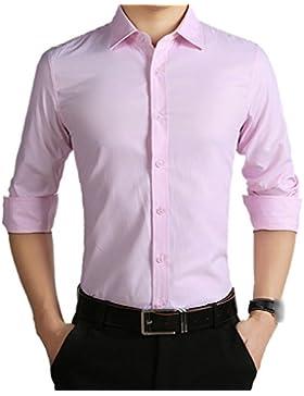 El Hombre Primavera Otoño Invierno Ocio Colores Sólidos Tendencias Convulsiones Tallas Grandes Ropa Formal Camisa