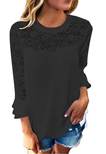 Donna Casuale Maniche Lunghe Crochet del Merletto Camicetta T-Shirts Stitching O-Collo Solid Autunno Felpa Tops