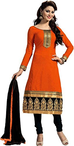 Generic Cative Company Pure Cotton Un-Stitched Emroderied Salwar Suit Dupatta Material (Orange)