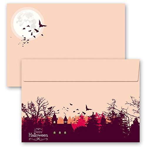 Motiv-Briefumschläge HAPPY HALLOWEEN, 10 Stück C6 (162x114 mm) Briefumschläge ohne Fenster, Selbstklebend mit Abziehstreifen (Post Halloween Happy)