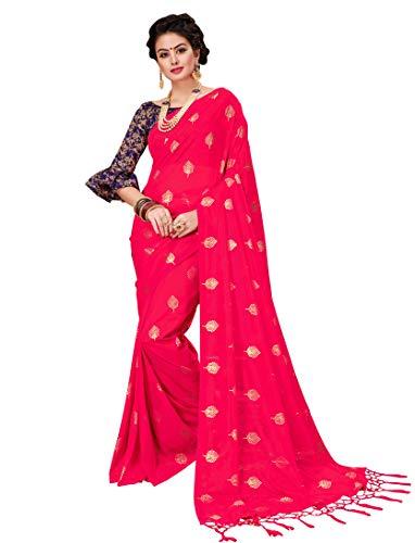 Monjolika Fashion Women\'s Two Tone Net Saree(35499_Magenta_Freesize)