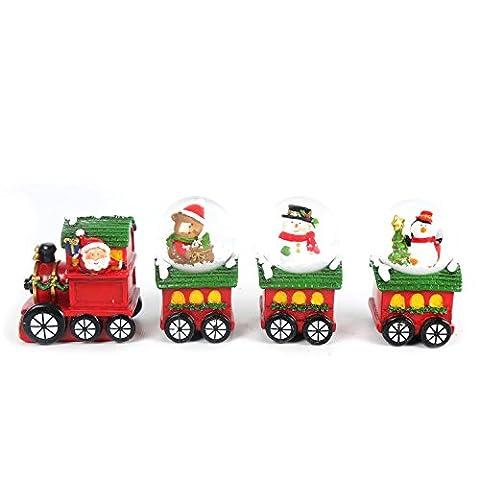 4 Piece Christmas Snow Globe Train Decoration ~ Xmas Snow