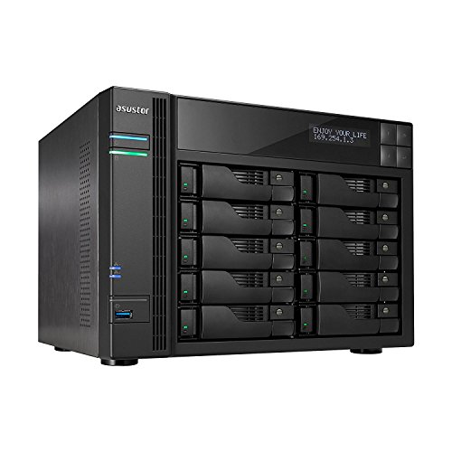 Asustor AS6210T 10-Bay NAS System (Intel Celeron Quad-Core Prozessor (Braswell), 4GB RAM (upgradefähig bis 8GB), 4x Gigabit-LAN mit Link-Aggregation, HotSwap, Raid 0, 1, 5, 6, 10 JBOD)