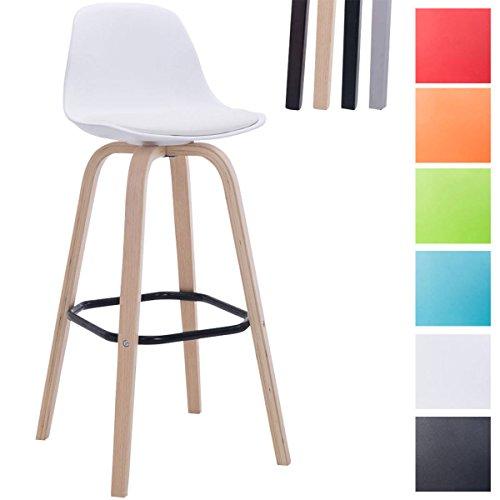 CLP Taburete AVIKA con tapizado de cuero sintético y asiento de plástico. Taburete de bar con respaldo y reposapiés. Taburete para barras con soporte de cuatro patas. blanco, Color soporte de madera: natural