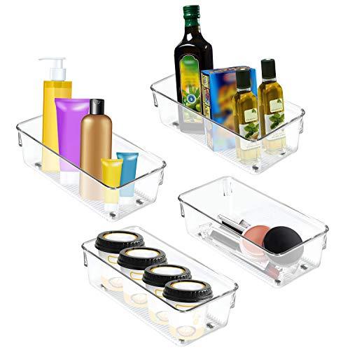 Kurtzy Kühlschrank Storage Organizer - 4 Set Kühlschrank Aufbewahrungsbox Schubladen Pantry Container Stackable Kühlschrank Container - Perfekt für kleine Gewürze, Milchprodukte, Gemüse