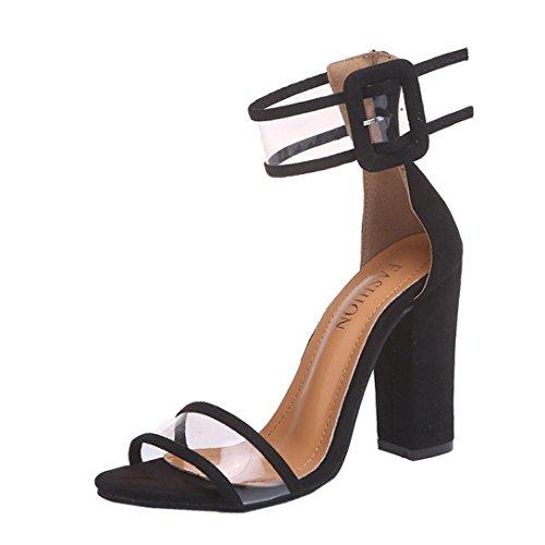 Sandales Femme,Sonnena Sexy Roma Boucle Talon Hauts Sandale Bout Ouvert Chic Pantoufles Plages Chaussures Size 35-43