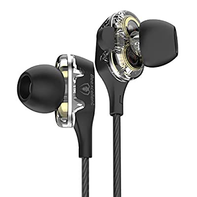 Beexcellent In-Ear Headphone, Dual Dynamic Driver Bass Headphone Noise Canceling Earbuds with Microphone for iPhone Android Smartphones Tablets MP3 Player