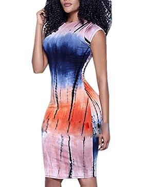 OUFour Verano Mujer Dress Moda Digital Impresión Bodycon por la Rodilla Vestido de Vacaciones Coctel Partido Fiesta...