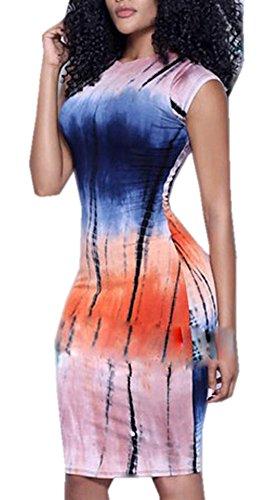 CHDT-Shirt Sommer Damen Etui Kleider Fashion Digital Druck Paket Hüfte Knielang Kleider...