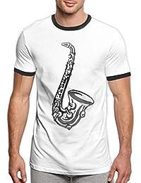 Ytwww123 Saxofón clásico para Hombre Camiseta de Ringer Camiseta de Instrumento Musical Hombre Sax Instrument Hombre
