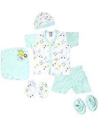 Little Hub 6 pcs New Born Unisex Baby Gift Set (Green, 0-3 months)