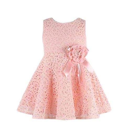 Prinzessin Kleid,Binggong Mädchen Kinder Full Lace Floral One Piece Kleid Kind Prinzessin Party Kleid Rosa Abendkleid Elegant Kinderkleidung Mode Prinzessin Kleid Niedlich Schön Kleid (110, Rosa)