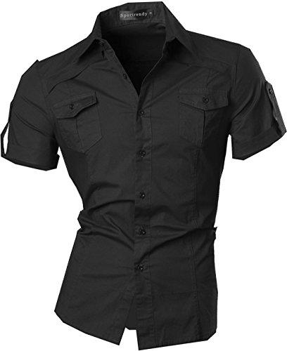 Sportrendy uomo camicie unico drago cinese tatuaggio moda tattoo slim shirts men top jzs055 black s