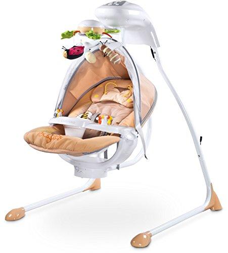 Caretero Bugies Babyschaukel mit Batterien oder Strom Betrieben bis 12 kg, beige