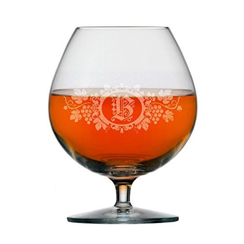 Stölzle Lausitz Weinbrandglas - Cognacglas mit eigenem Initial in Weinranke Gravur Gratis 585 ml