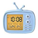 Kinder Wecker Digital Wecker für Kind Mädchen Teen Bett Schlafzimmer Schlafsaal, Snooze Funktion wiederaufladbare Laut Multi Alarms Temperaturanzeige nicht tickende Silikonhülle Schutz (Blau)