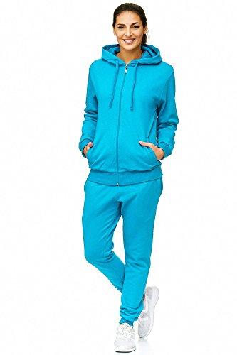 Damen Jogging-Anzug Uni Colour Design 586, Trainings-Hose-Jacke-Anzug aus 100% Baumwolle, mit Kapuze und Rippstrickbündchen, von S bis 3XL (M, Schwarz Türkis - fällt klein aus)