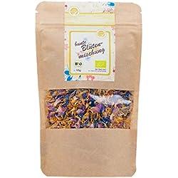 direct&friendly Bio bunte Blütenmischung - farbenfrohe Essblüten-Mischung aus Rosen-, Ringelblumen- und Kornblumenblütenblättern (10 g)