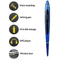 OMZBM Pequeño Dispositivo De Grabación Portátil Recargable, Grabadora Activada por Voz DE 16 GB HD 5 En 1 Pluma De Grabación Multifunción,Blue