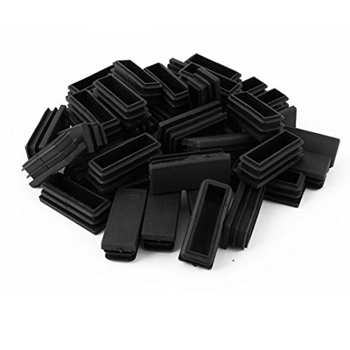 Dealmux Plastique Home Office Table Chaise jambe rectangle Tube Tuyau Insert Cap 20 Mmx50 mm 40 pcs Noir