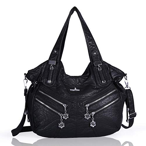Angelkiss 2 Top Zippers Large capacity Handbags Washed Leather Purses  Shoulder Bags 1135 3b035c44c233c