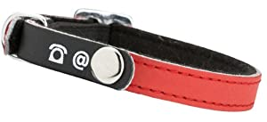 "Bobby ""porte-adresse"" Red Leather Cat Collar"