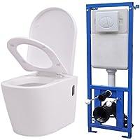 Festnight Inodoro de Pared WC con Cisterna Asiento y Tapa