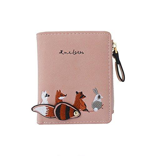 B-commerce Damen Mode Frauen Brieftasche Schöne Cartoon Tiere Kleine Münze Reißverschluss Geldbörse Karte Paket Falten Stil Kurze Mini Geldbörse