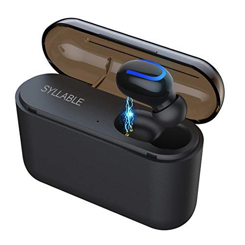 Syllable Mini-Kopfhörer, kabellos, Bluetooth V5.0 Ohrhörer, unsichtbar, mit 1450 mAh Ladebox, Auto-Headset mit Mikrofon, Freisprechanrufe für iPhone und Android Smartphones