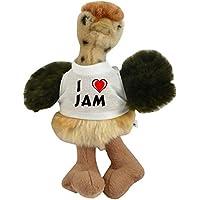 Avestruz personalizado de peluche (juguete) con Amo Jam en la camiseta (nombre de