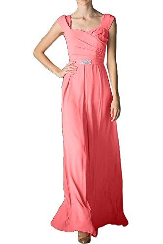 Promgirl House Damen Einfach Traeger A-Linie Chiffon Lang Abendkleider Ballkleider Wassermelone 2