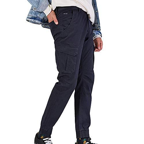 Mens Fashion Pure Color Multi Pocket Lässige Baumwollhose Overall Bleistift Hose Lässige gewaschene Multi-Pocket-Hose für ()