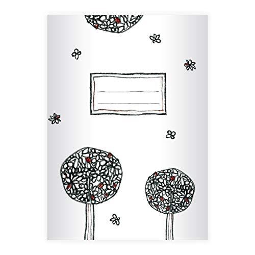 4 schöne Doodle DIN A4 Schulhefte, Schreibhefte mit Bäumen, Lineatur 27 (liniertes Heft 16 Blatt/32 Seiten) Notizheft, Kladde für Schule, Universität, Büro