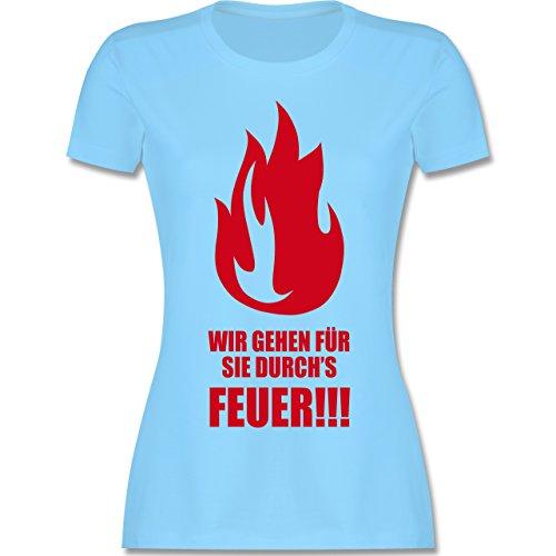 Feuerwehr - Wir gehen für Sie durchs Feuer - tailliertes Premium T-Shirt mit Rundhalsausschnitt für Damen Hellblau