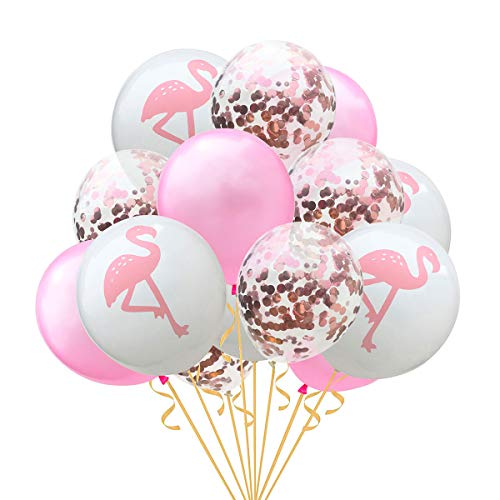 15Pcs 12inch Rose Gold Paillette Confetti Balloons Hawaii Party Glitter Flamingo Balloons Party Supplies Decoration for Birthday Wedding Proposal