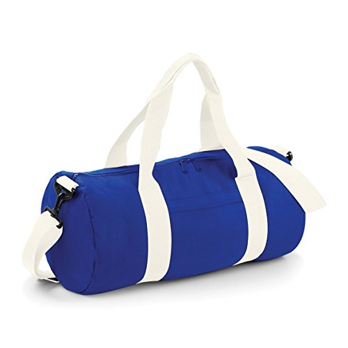 Varsity Barrel Bag by BagBase French Navy/ Off White