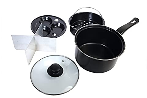 8 Multi Use Four Way Pan With Vented Glass Lid, Egg Poacher, Vegetable Steamer - Keep Vegetables Separate while cooking by