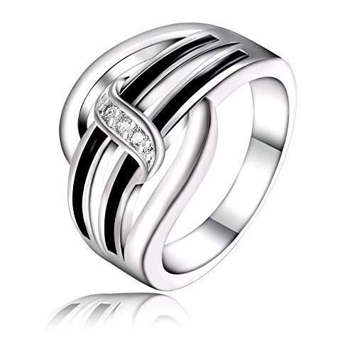 upreis Frauen Neue Liste Silber Farbe Elegante Nette edle raffinierte Zirkon Ring hot klassischen Schmuck niedlich ()