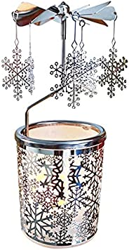 kingnero Snowflake Rotary Tea Light Candle Holder Spinning Candlestick and Interior Decoration Silver Metal Te
