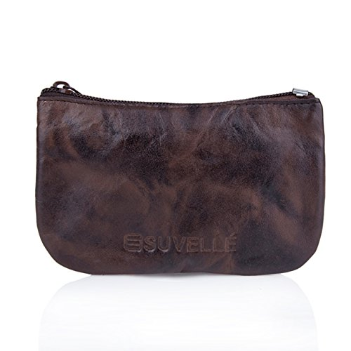 Suvelle Men's Genuine Leather Zippered Coin Pouch Change Purse Key Holder Wallet WP470 -
