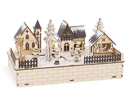 Small Foot Lampe Winterdorf aus feinem Holz gearbeitet, Weihnachtsdeko mit LED-Beleuchtung, Weihnachtsmusik und elektrisch betriebener Eislauffläche Dekoartikel, natur